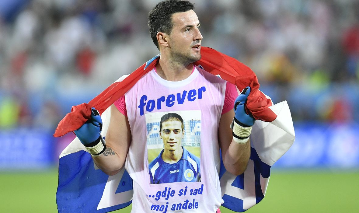 Subasic et son tee-shirt hommage Source : Sportske Novosti - Jutarnji List