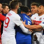 LIVERPOOL, ENGLAND - OCTOBER 19:  Ashley Williams of Everton clashes with Lyon players during the UEFA Europa League Group E match between Everton FC and Olympique Lyon at Goodison Park on October 19, 2017 in Liverpool, United Kingdom.  (Photo by Ross Kinnaird/Getty Images)